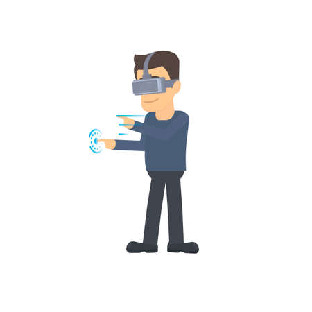 Virtual reality. A man wearing virtual reality glasses. Networking, vector illustration Ilustrace