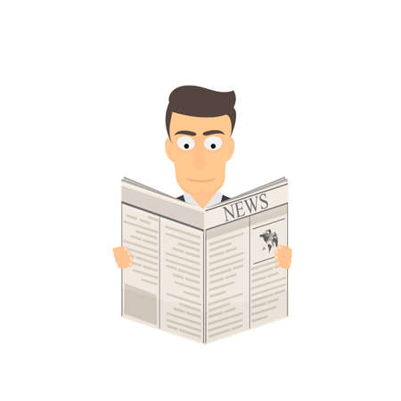 Man reads a newspaper. View publications, vector illustration