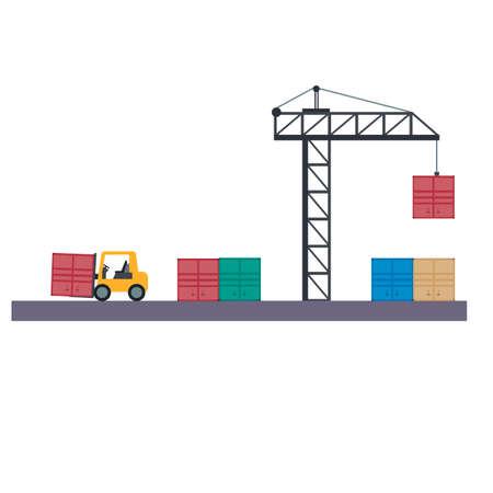 Warehouse. Cargo crane and forklift truck, vector illustration Ilustrace