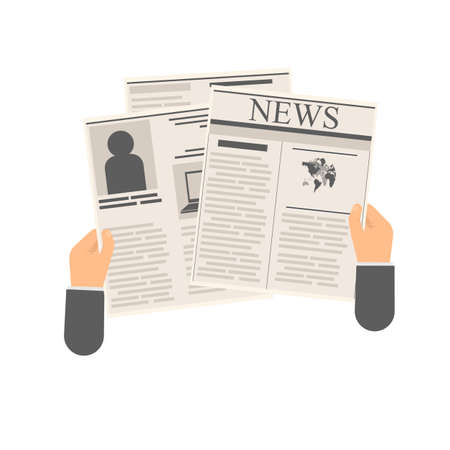 News from the newspaper. Viewing a publication, vector illustration
