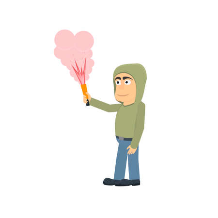 Fiery fires. A man with a torch. Fireshow, vector illustration Ilustrace