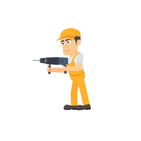 Working with hammer drill, vector illustration