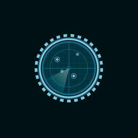 Search radar. Radar screen with targets, vector illustration