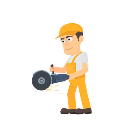 Worker with an angle grinder, vector illustration
