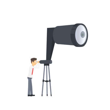 Businessman looks to the future. Looking through a telescope, vector illustration