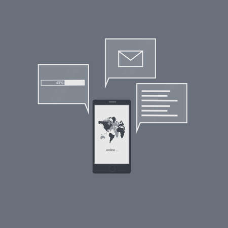 Concept mobile phone with an interface. Global communication, vector illustration