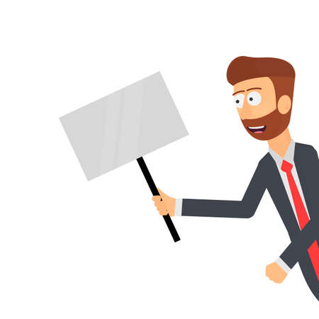 Promotion. A man with a sign in his hands, vector illustration