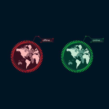 Internet. Online and offline icon. Global connection, vector illustration