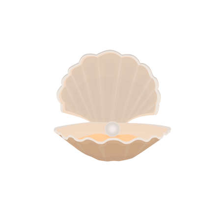 Shell with a pearl, vector illustration