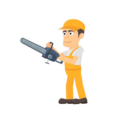 Worker with a chainsaw, vector illustration