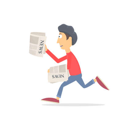 Paperboy. Newsboy, vector illustration. Promotion Ilustrace