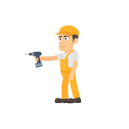 Working with a screwdriver, vector illustration Ilustrace