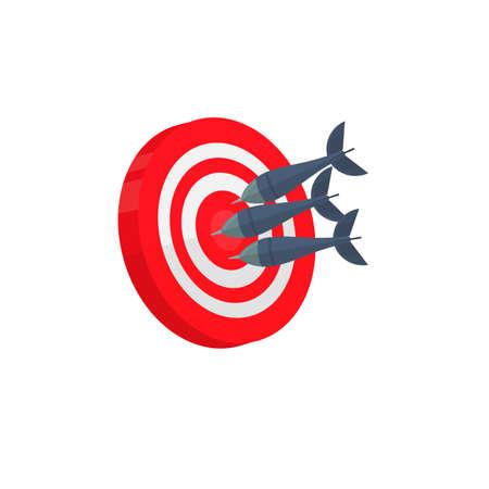 Darts. The dart hits the target, vector illustration