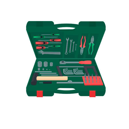 Toolbox. A set of tools. Instruments, vector illustration