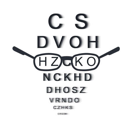 Glasses. Vision check, vector illustration