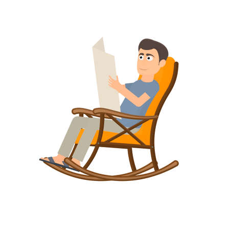 Man is sitting in a rocking chair. Reading a newspaper, vector illustration