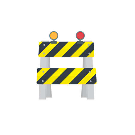 Barrier. Obstacle with light alarm, vector illustration Vettoriali