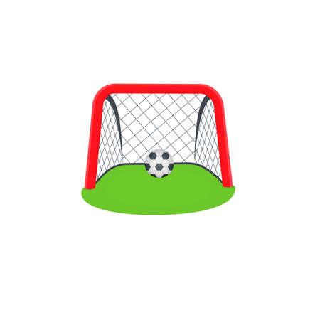 Goal. A ball in a football goal, vector illustration