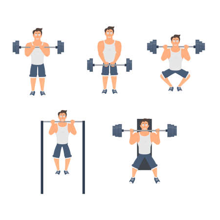 Bodybuilder. Exercises with a barbell and on a horizontal bar, vector illustration