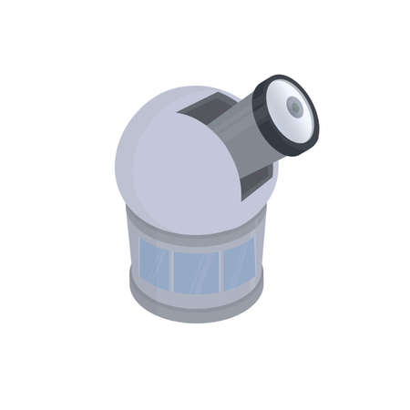 Observatory. Astronomical observation through a telescope, vector illustration