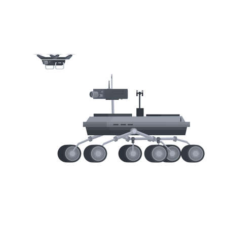 Mars rover. Research rover with a drone, vector illustration Vettoriali