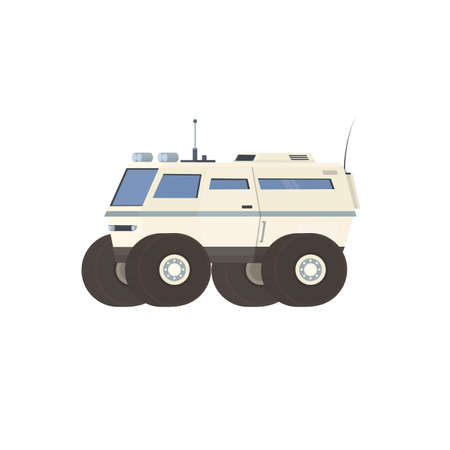 Space vehicle. Mars rover vehicle, vector illustration