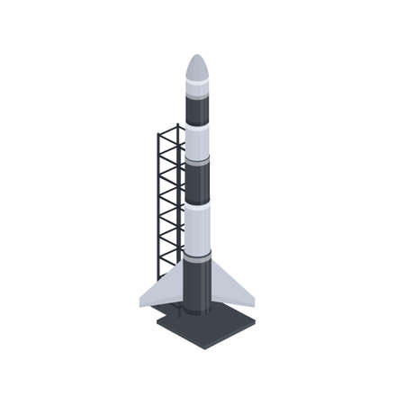 Rocket. Rocket launch from the cosmodrome, vector illustration