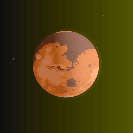 Planet Mars. Red Planet, vector illustration Vettoriali