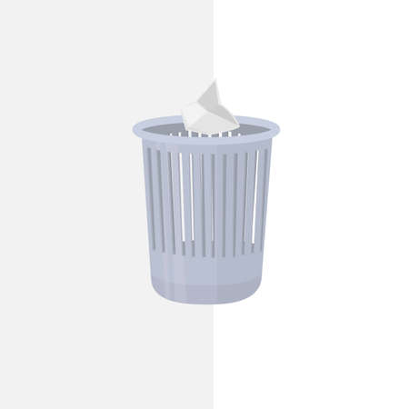 Trash can. Throw the trash in the trash, vector illustration