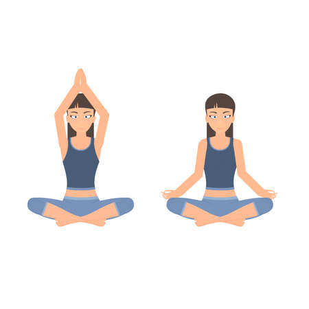 Meditation. Girl doing yoga, vector illustration Vettoriali