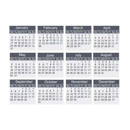 Calendar year 2022. Days, weeks, and months, vector illustration