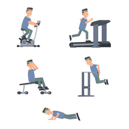 Sportsman. Sports training in the gym, vector illustration Vettoriali