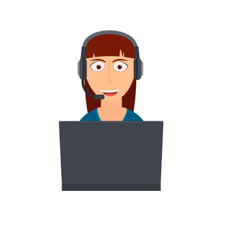 Support service. Operator with headphones and microphone and laptop, vector illustration