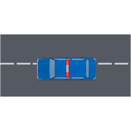 Police car driving on the road, vector illustration Vettoriali