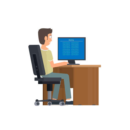 Programmer with a computer. Operating system error, vector illustration Vettoriali