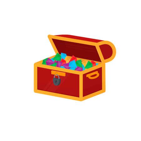 Precious stones. Treasure chest, vector illustration