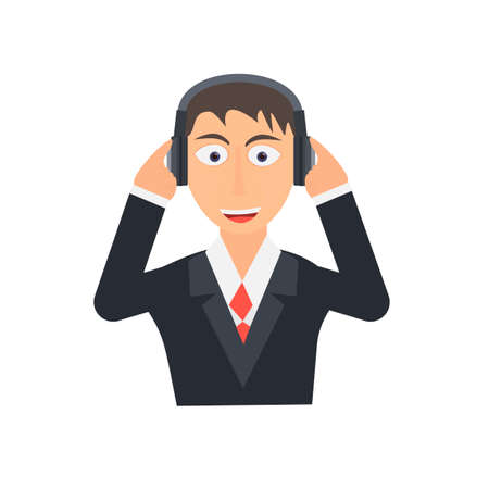 Man listens to music. Music headphones, vector illustration