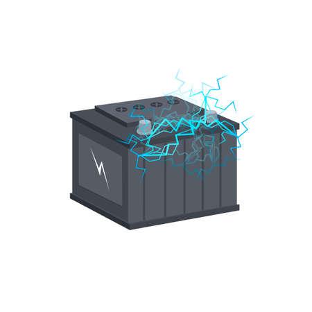 Car battery. Power supply, vector illustration Vettoriali