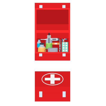 First aid kit. A set of medicines, vector illustration Vettoriali