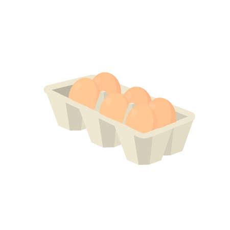 Egg tray. Chicken eggs in a box, vector illustration
