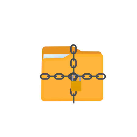Protection of personal data. A folder with files under lock and key, vector illustration Vettoriali