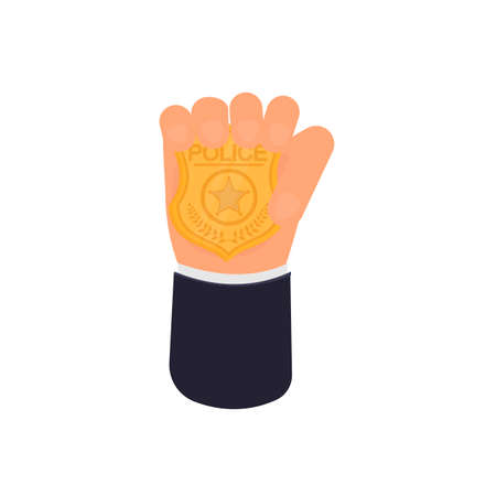 Police badge in hand, vector illustration