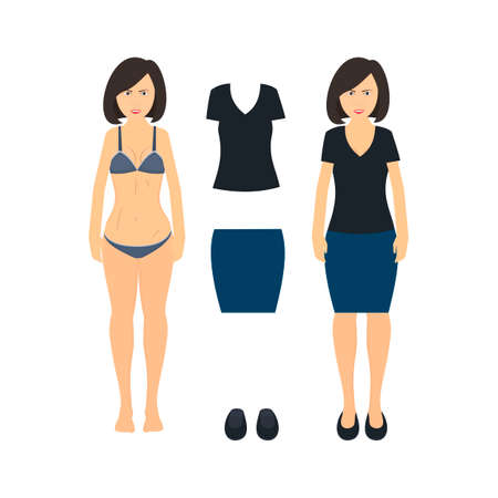 Woman in her underwear. Woman gets dressed, vector illustration