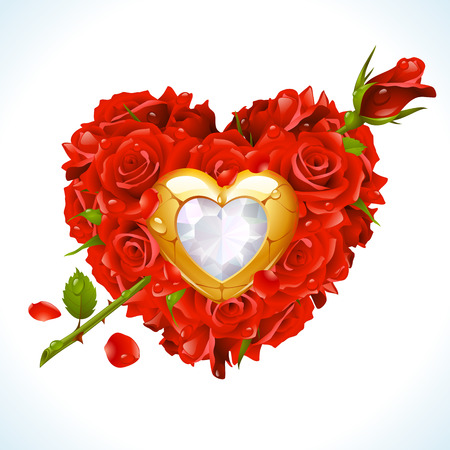 Red Roses and golden jewel in the shape of heart with arrow  Vector