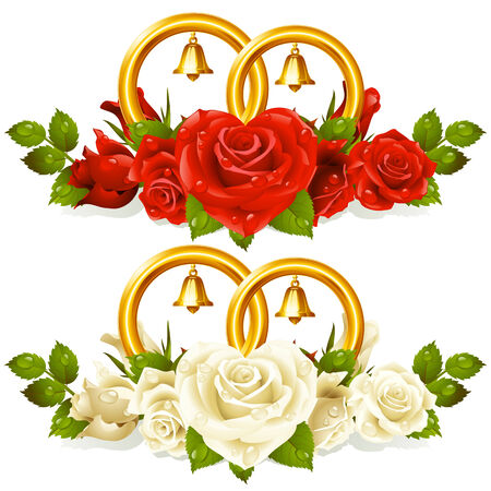Wedding rings and bunch of roses Vector