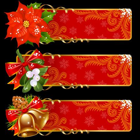 muerdago: Banners horizontales de Navidad y a�o nuevo