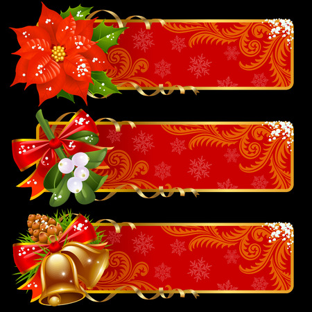 Christmas and New Year horizontal banners Stock Vector - 8046278