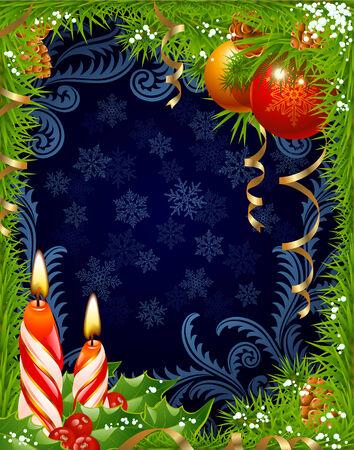 fir cone: Tarjeta de felicitaci�n de Navidad y a�o nuevo