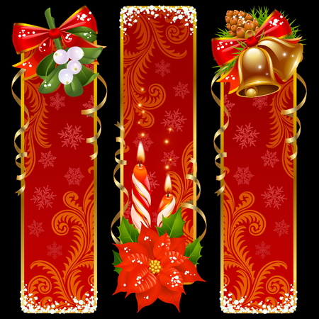 Christmas and New Year vertical banners Vector