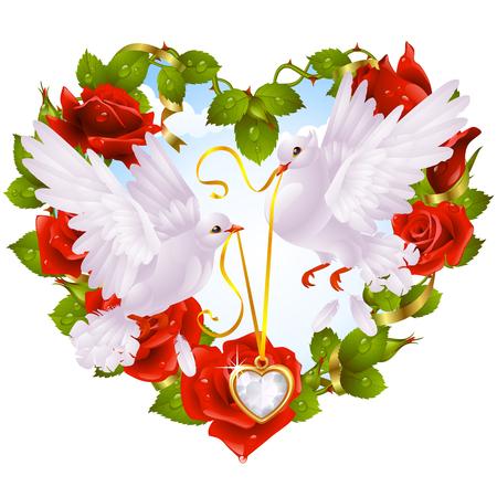 paloma blanca: Rose guirnaldas en forma de paloma de coraz�n y de pareja